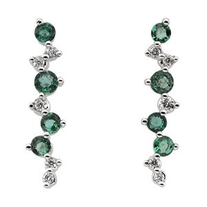 Round Green Emerald 14k White Gold Ladies Earrings