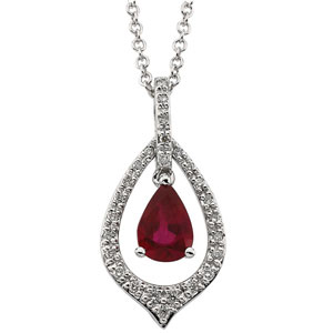 Pear Red Ruby 14k White Gold Ladies Pendant Necklace