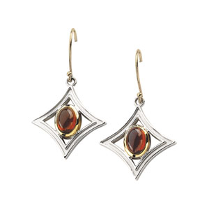 Oval Cabochon Red Mozambique Garnet 14k Yellow Gold Sterling Silver Ladies Earrings