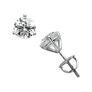 Round Clear White Diamond 14k White Gold Ladies Earrings