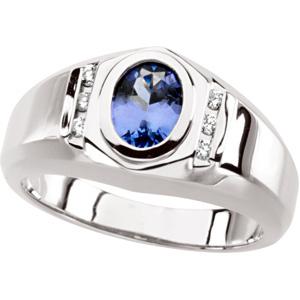 Oval Blue Purple Tanzanite 14k White Gold Ladies Ring