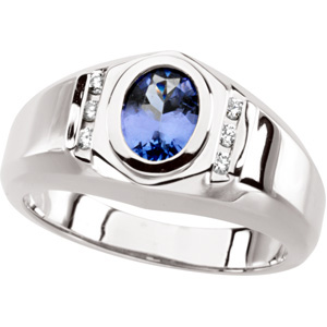 Oval Blue Purple Tanzanite 14k White Gold Ladies Ring