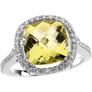 Square Cushion Checkerboard Lemon Yellow Quartz 14k White Gold Ring