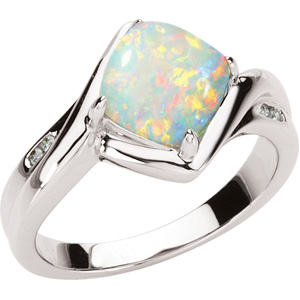 Square Rose Opal 14k White Gold Ladies Ring