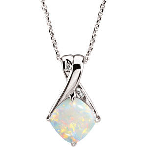 Square Cushion Opal 14k White Gold Ladies Pendant
