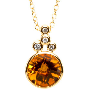 Round checkerboard orange golden citrine 14k yellow gold pendant round checkerboard orange golden citrine 14k yellow gold pendant necklace aloadofball Images