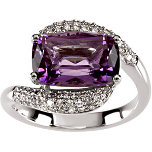 Rectangle Cushion Purple Amethyst 14k White Gold Ladies Ring