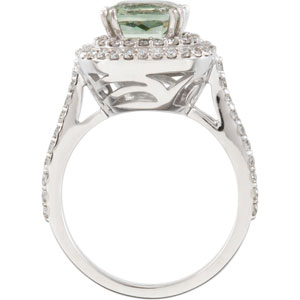 Square Cushion Green Quartz 14k White Gold Ladies Ring