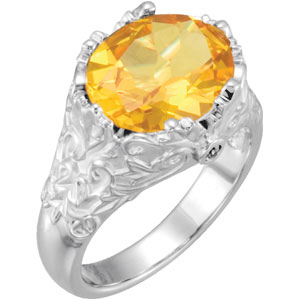 Oval Yellow Citrine 14K White Gold Ladies Gemstone Ring