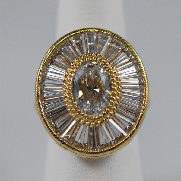 Oval CZ 24k Over Sterling Silver Judith Ripka Designer Ladies Ring