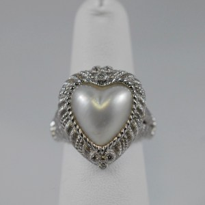 Sterling Silver Heart Pearl Judith Ripka Designer Ladies Ring