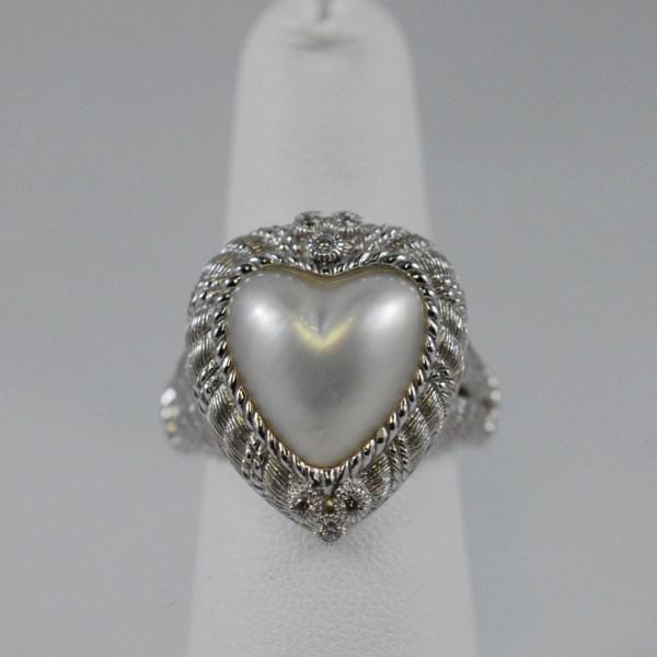 Sterling Silver Heart Pearl Judith Ripka Designer Ladies Ring