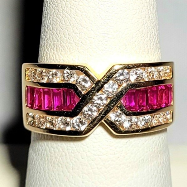 14k Yellow Gold Synthetic Ruby and CZ ladies ring