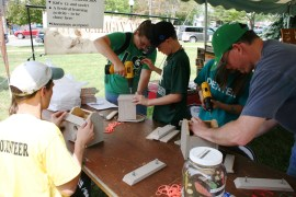 Building birdhouses at the Kirtland's Warbler Festival!