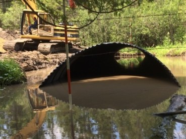 During Construction: Culvert sized appropriately for stream