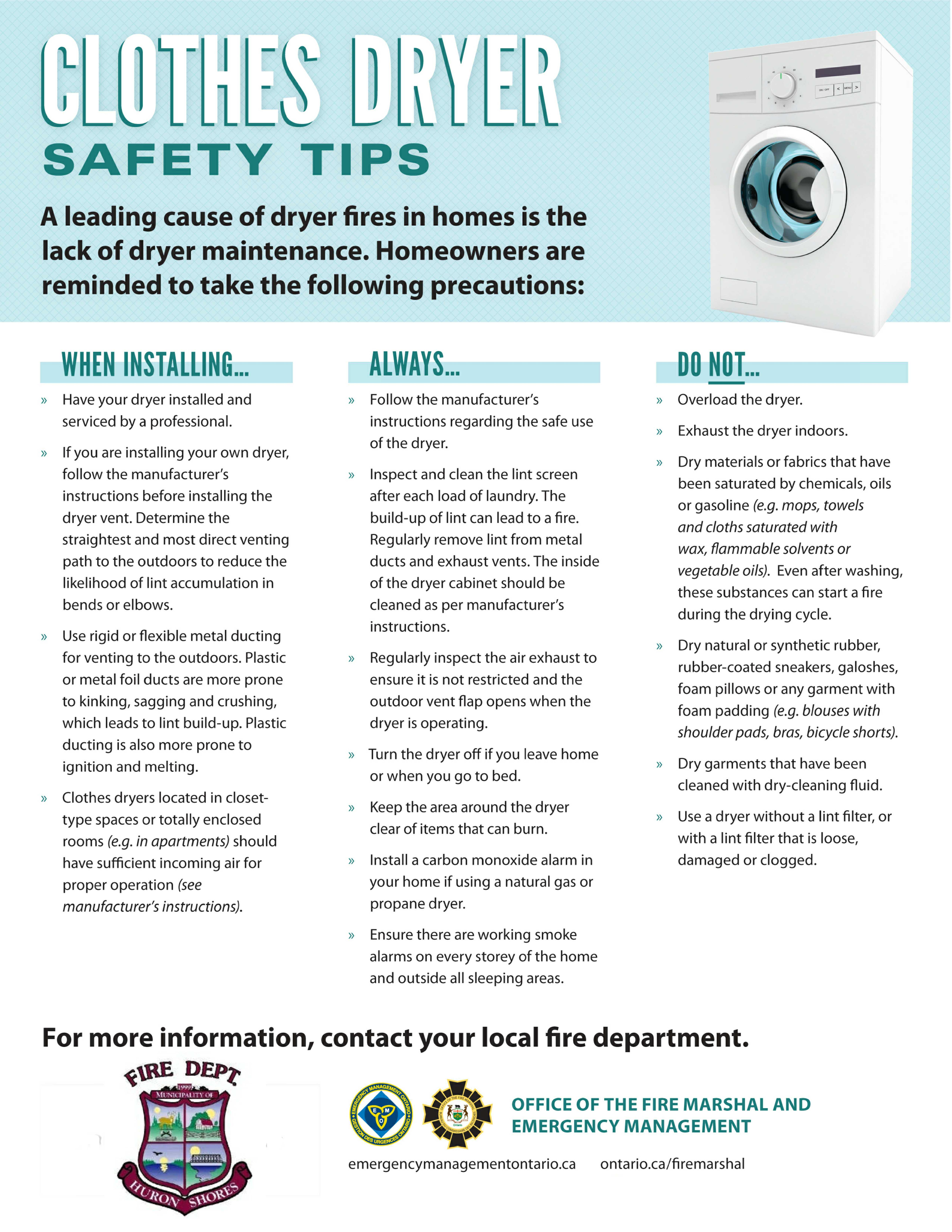 Clothes Dryer Fire Safety Tips