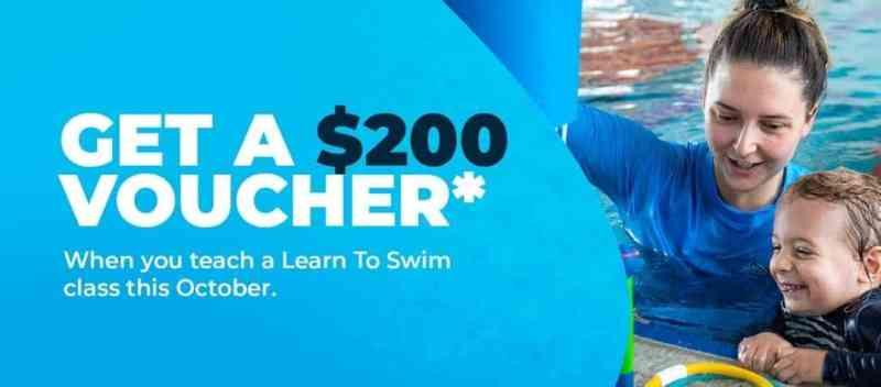 All BlueFit Swim Teachers who teach a class in October will receive a $200 voucher*!
