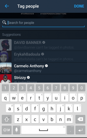 The tag selection screen will open to your list of friends/followers.