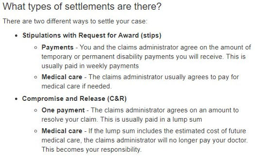 California workers' compensation settlements