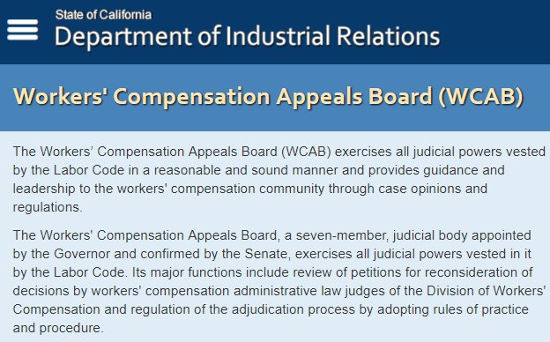 California Department of Industrial Relations. Workers' Compensation Appeals Board info.