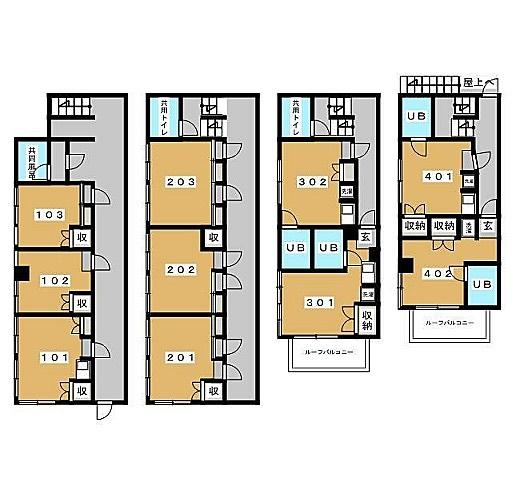 今日もシェアハウス放棄?物件〜今度は一棟もの。…キッチンは?一階二階の扱いひどい〜#あれは#ルーフバルコニー#なのか#会議#開催中#棟内#格差#どいひー#住むなら#301#希望#間取り図