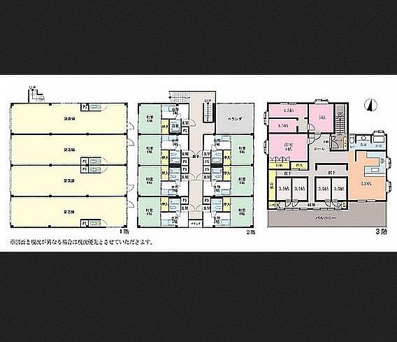 3階の部屋割りが不思議〜なんでだろ?#一階#貸店舗#二階#賃貸住宅#三階#謎の住居#そんな#ビル#間取り図#で#妄想中#です