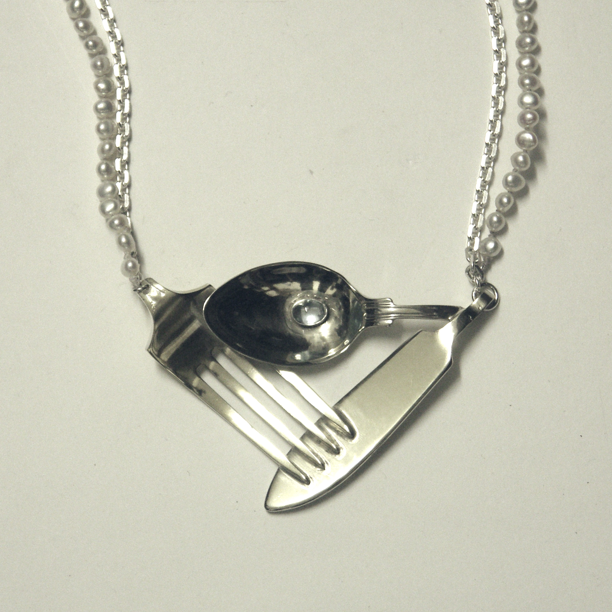 CTPN-Cutlery, pearl and topaz necklace