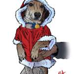 Digital painting of a puppy in a Santa dog costume