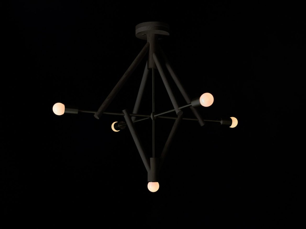 Workstead, Lodge Chandelier Five Oxidized Black On