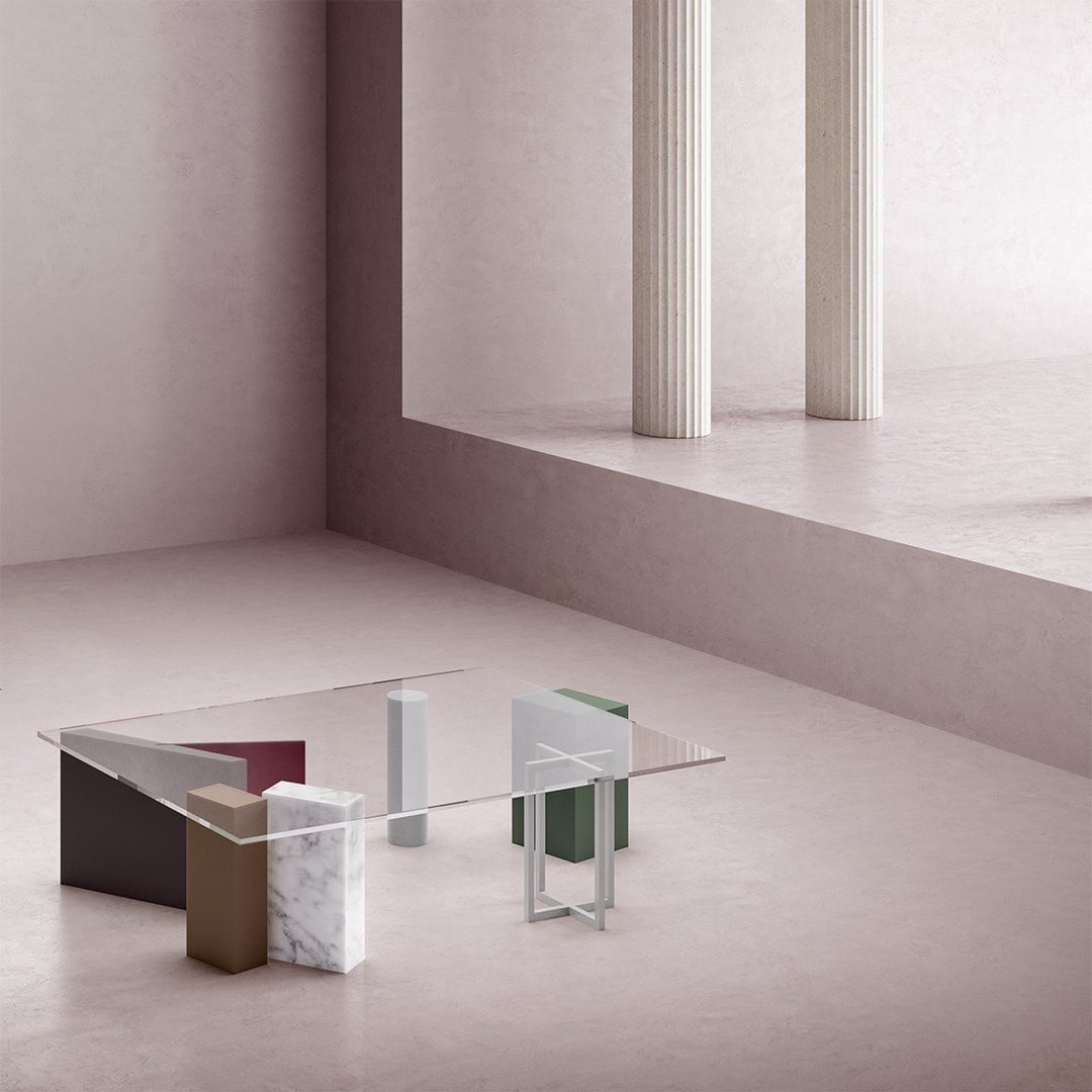 3D abstract interior design with glass and marble coffee table.