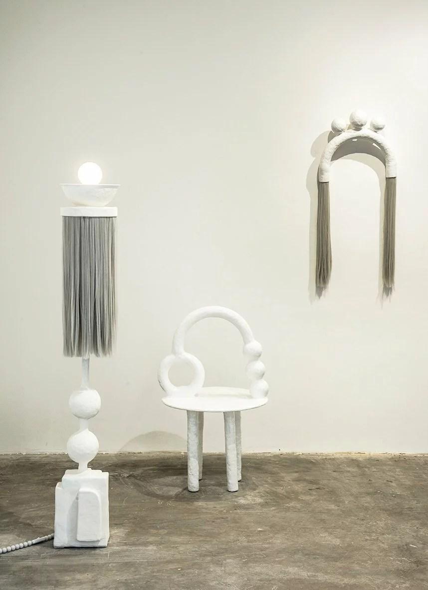 An organic white design furniture collection designed by Brazilian artist Camilla D'Anunziata.