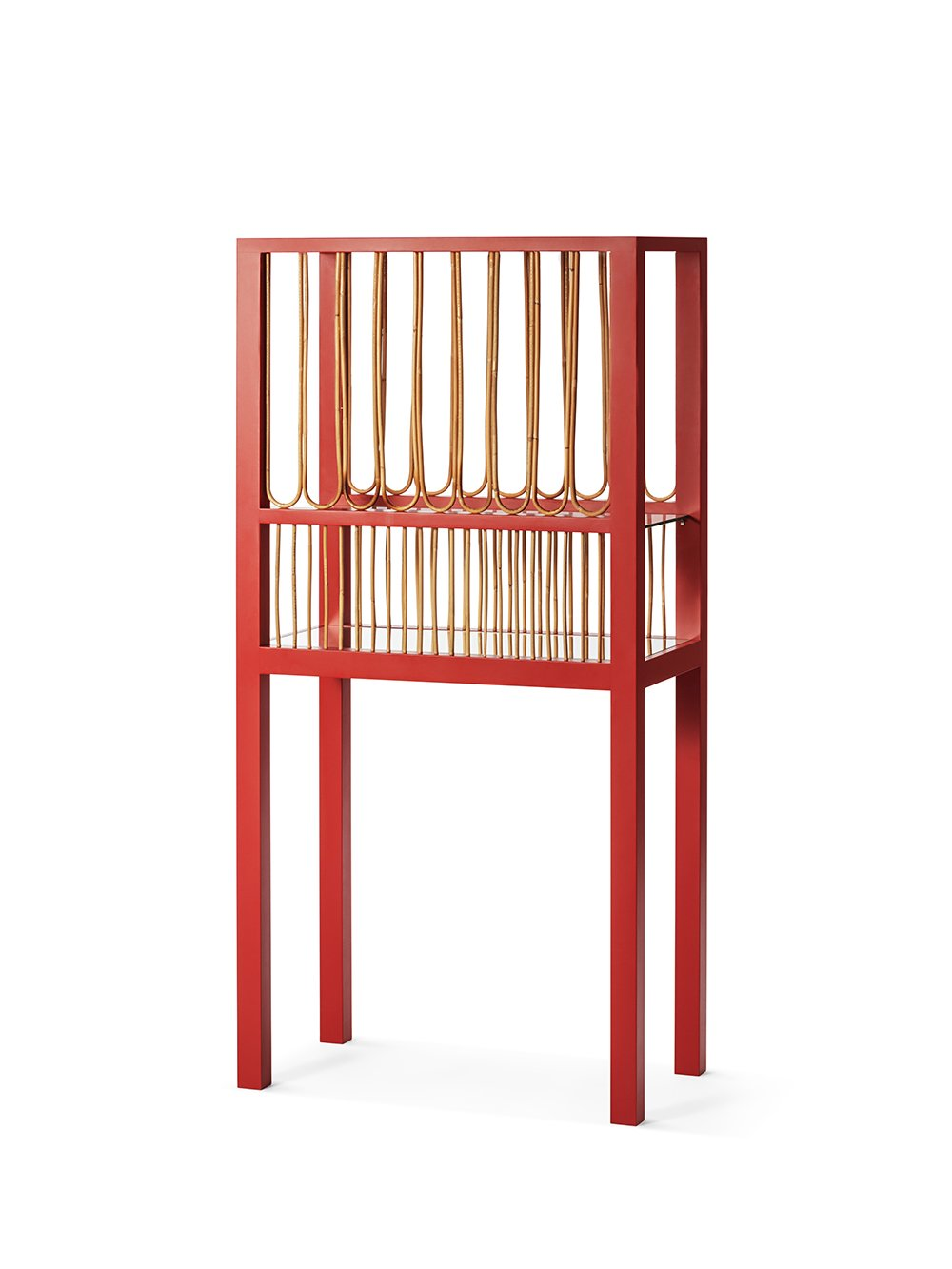 Wooden, rattan and glass Red Cabinet at 3daysofdesign