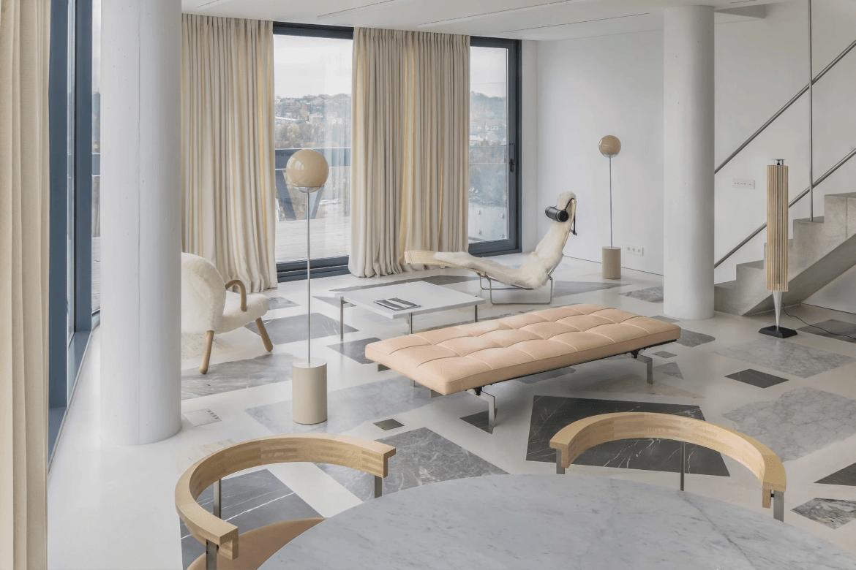 Appartement au design minimaliste et sol en marbre par Do Architects.