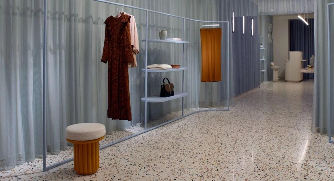 Elena Mora designed a contrasting concept store for Manalena