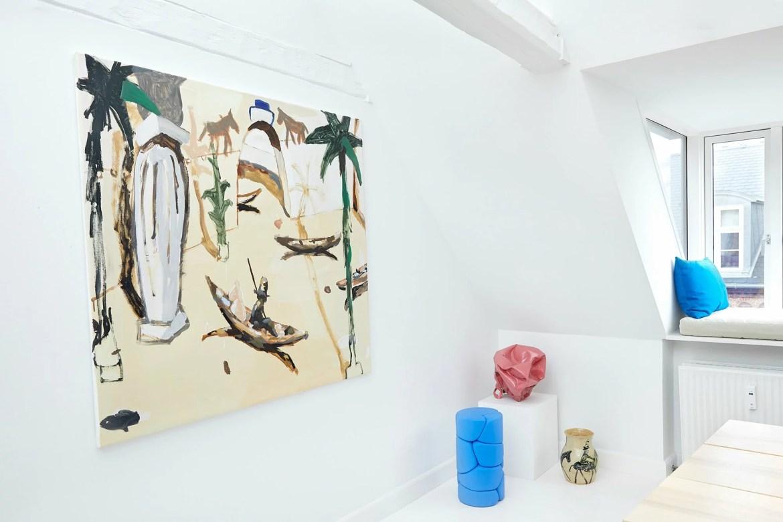 Scandinavian apartment filled with contemporary design pieces by Lumière Bricoleur, lamp by Lumière Bricoleur