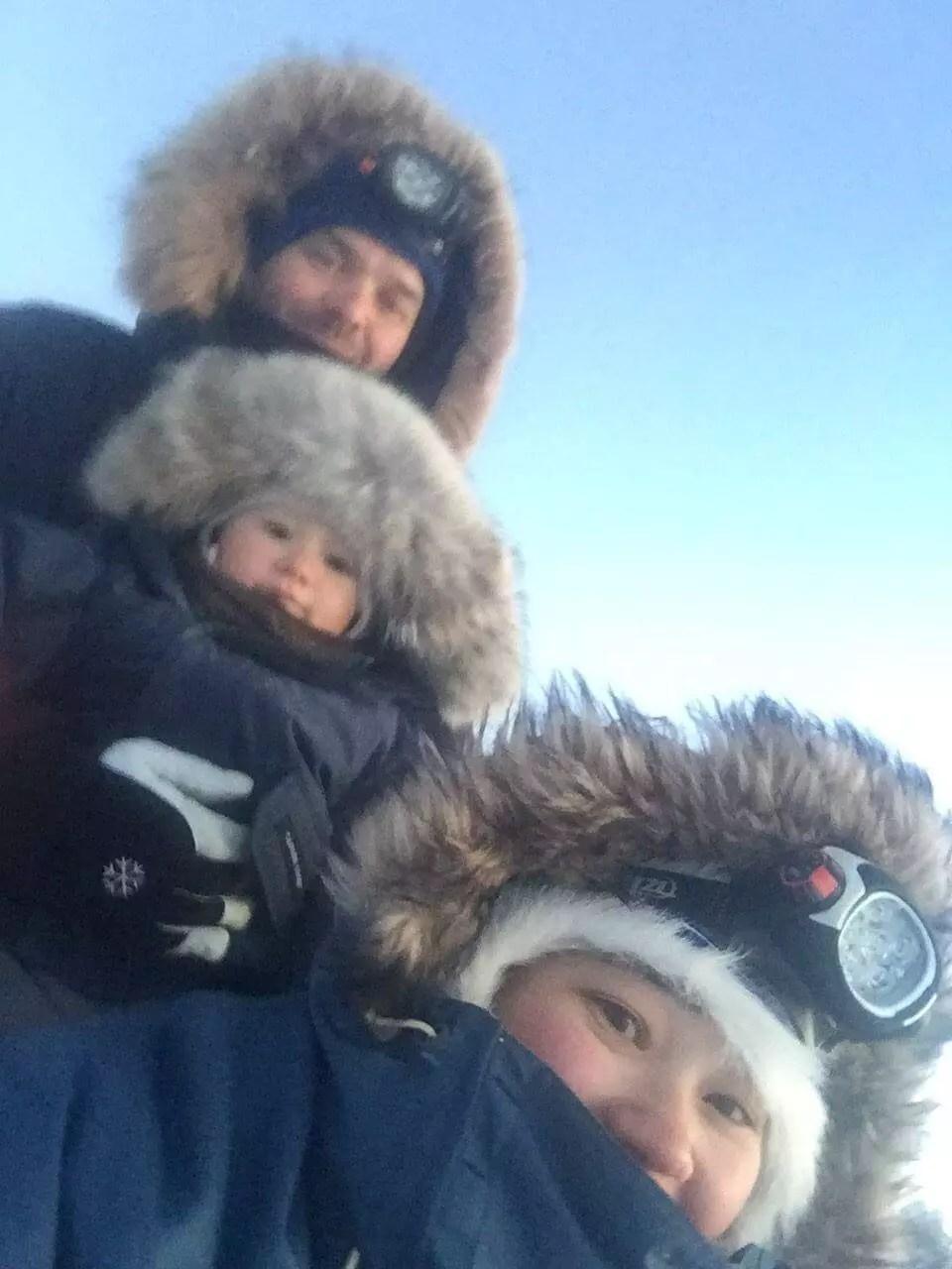 family dog sledding trip