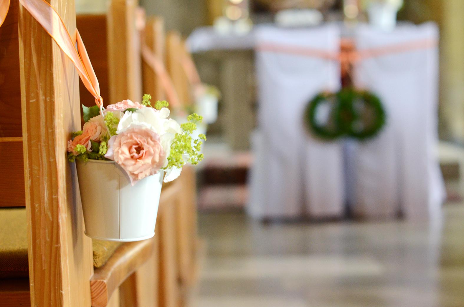 Hochzeitsdekoration in zarten Tnen  es muss nicht immer