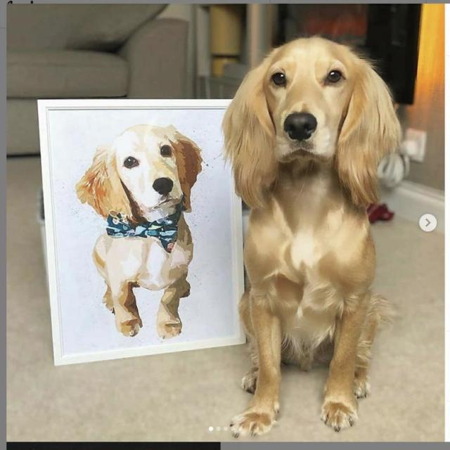 pet art portrait of golden retriever