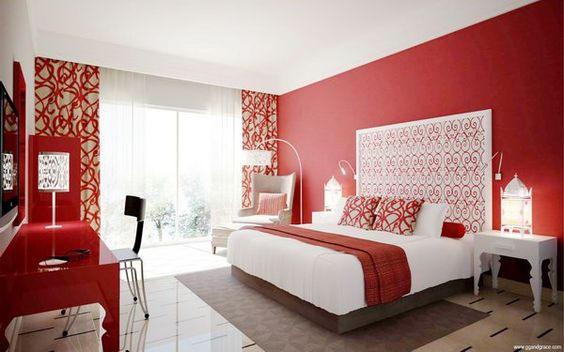 red master bedroom