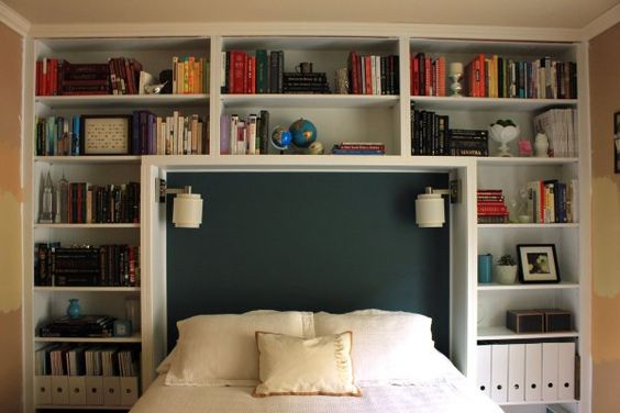 bookshelf headboard ideas