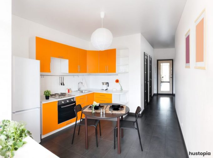 Orange Kitchen Cabinet to Accentuate the Room Nuance
