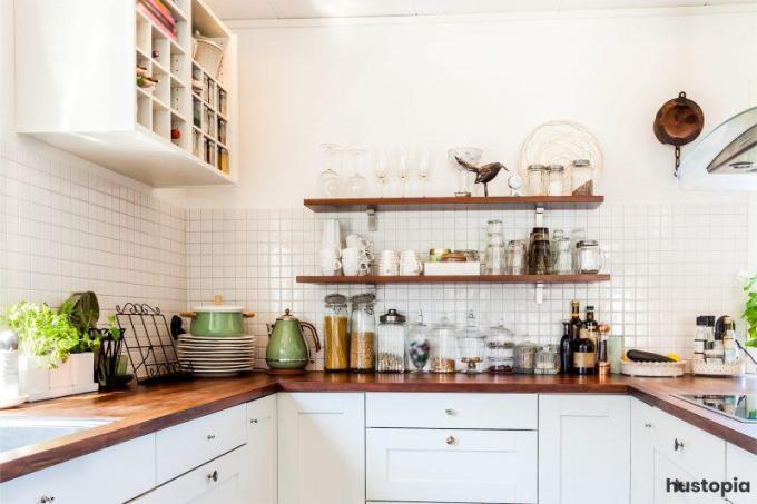 White Kitchen Design with Wooden Accent