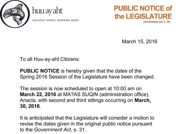 2016-03-15 PUBLIC NOTICE - Spring 2016 Legislature Revised Dates