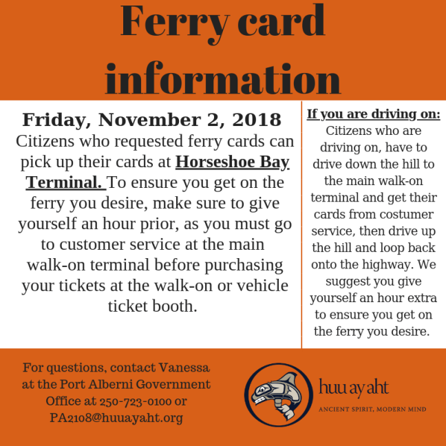 ferry card information
