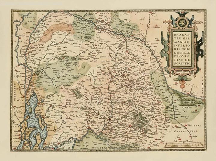 Kaart van het hertogdom Brabant uit 1540 door Jacob van Deventer