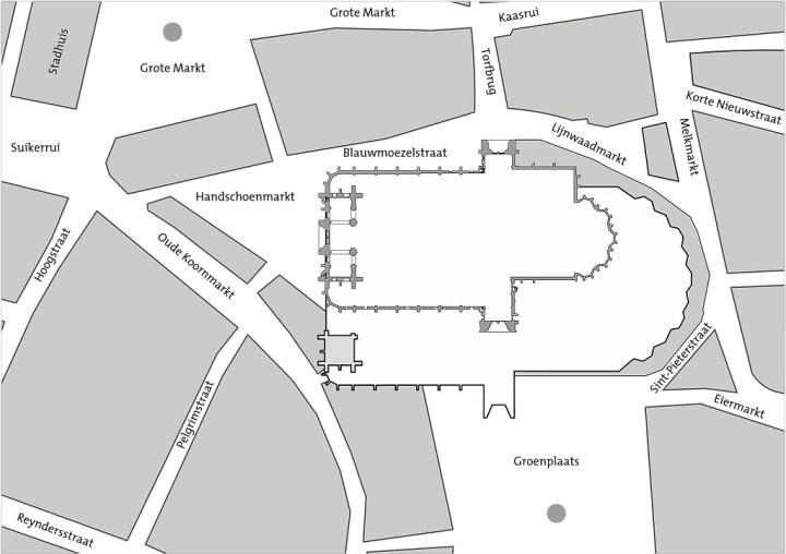 Schema van de geplande uitbreiding van de kathedraal