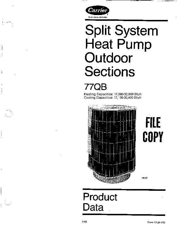 Carrier 77qb 1pd Heat Air Conditioner Manual
