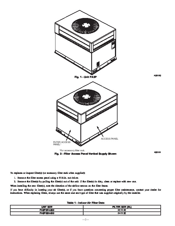 Carrier Pa3p 01 Heat Air Conditioner Manual