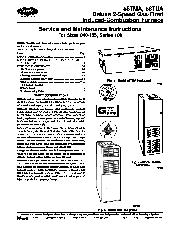Carrier 58T 3SM Gas Furnace Owners Manual