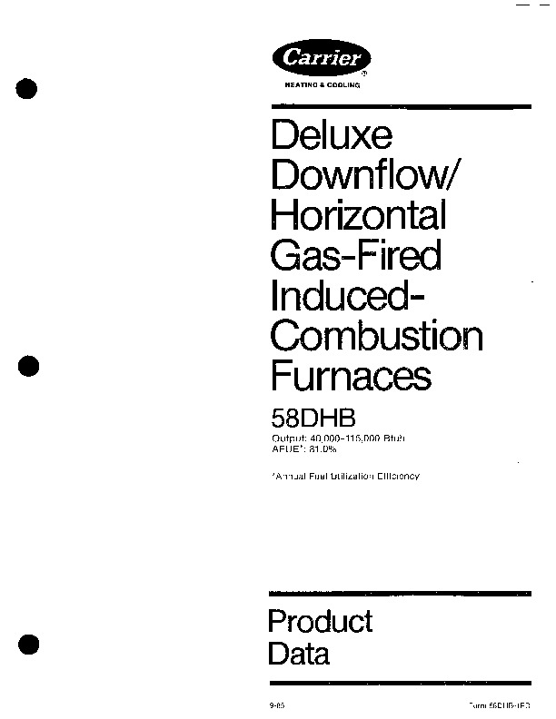 Carrier 58DHB 1PD Gas Furnace Owners Manual